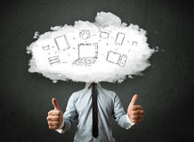 Professional business man with cloud network head Stock Images
