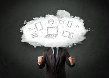 Professional business man with cloud network head Royalty Free Stock Image