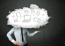 Professional business man with cloud network head Stock Image