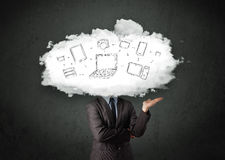 Professional business man with cloud network head Royalty Free Stock Photos