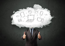 Professional business man with cloud network head Royalty Free Stock Images
