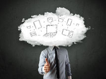 Professional business man with cloud network head Stock Photos