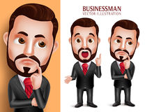 Professional Business Man Vector Character in Attractive Corporate Attire Thinking Idea. 3D Realistic Professional Business Man Vector Character in Attractive Royalty Free Stock Images
