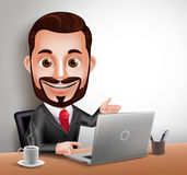 Professional Business Man Vector Character Happy Sitting and Working in Office Desk Royalty Free Stock Image
