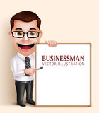 Professional Business Man Vector Character Holding Blank White Board. 3D Realistic Professional Business Man Vector Character Holding Blank White Board for Royalty Free Stock Photos