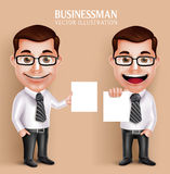 Professional Business Man Vector Character Holding Blank White Paper Stock Image