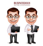 Professional Business Man Vector Character Holding Laptop and Mobile Tablet. 3D Realistic Professional Business Man Vector Character Holding Laptop and Mobile Royalty Free Stock Photo