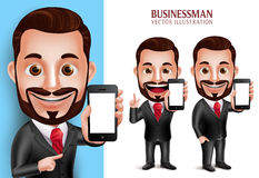 Professional Business Man Vector Character Holding Mobile Phone. 3D Realistic Professional Business Man Vector Character Holding Mobile Phone with Blank Screen Royalty Free Stock Images