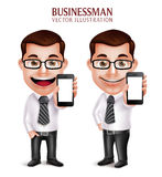 Professional Business Man Vector Character Holding Mobile Phone. 3D Realistic Professional Business Man Vector Character Holding Mobile Phone Happy Talking  in Royalty Free Stock Image