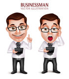 Professional Business Man Vector Character Holding Mobile Tablet Shocked. 3D Realistic Professional Business Man Vector Character Holding Mobile Tablet Shocked Stock Photo