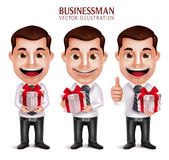 Professional Business Man Vector Character Holding Red Gift Box. 3D Realistic Professional Business Man Vector Character Holding Red Gift Box  in White Royalty Free Stock Photography