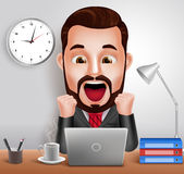 Professional Business Man Vector Character with Shocked and Surprised Expression Working in Office Desk. 3D Realistic Professional Business Man Vector Character Royalty Free Stock Photos
