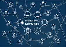 Professional business network concept. Vector background with connected wireless devices and social network of colleagues within global workforce. Dark blue stock illustration