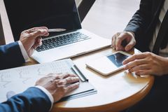 Professional Business partner team discussing on meeting to presentation planning investment project working analyzing and. Strategy of business making stock photos