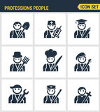 Professional business people avatars. Character flat design icons set with doctor teacher businessman farmer scientist Royalty Free Stock Image