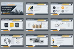 Professional business presentation, slide show vector template Royalty Free Stock Images