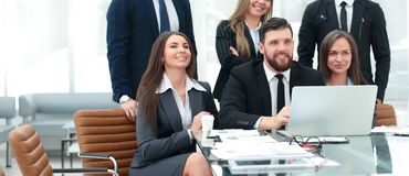 Professional business team is preparing to start a business presentation. royalty free stock photography