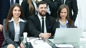 Professional business team is preparing to start a business presentation. Photo with copy space stock image
