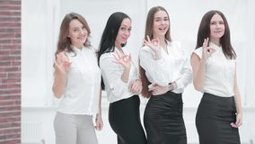 Professional business team showing gesture is OK.professional work concept stock images