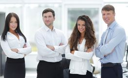 Professional business team standing in office Royalty Free Stock Photos