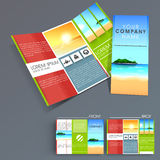 Professional business three fold flyer template, Stock Photo