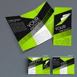 Professional business three fold flyer template, Stock Image
