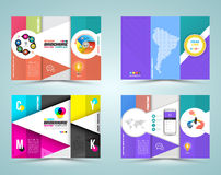 Professional business three fold flyer template Royalty Free Stock Image
