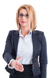 Professional business woman hand shake gesture Royalty Free Stock Photography