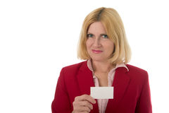 Professional Business Woman Holds Blank Business Card Royalty Free Stock Image