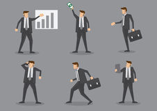 Professional Businessman in Action at Work Vector Illustration Stock Photography