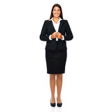 Professional businesswoman. Business woman standing full lenght smiling cheerful. Isolated on white background Stock Image