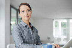 Professional businesswoman working on a computer Royalty Free Stock Photos