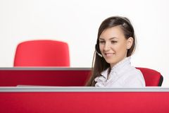 Professional call center agent at work Stock Photos