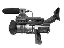 Professional camcorder. Microphone and viewfinder Royalty Free Stock Photo