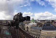 Professional digital video camera. Professional camcorder on the shooting of the cityscape Stock Photos