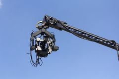 Professional camera on the crane stock photo