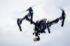 Professional camera drone flying royalty free stock photography