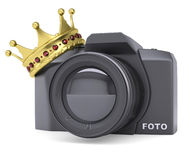Professional camera and gold crown Stock Image