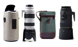 Professional camera lens and bags Royalty Free Stock Photo