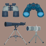 Professional camera lens binoculars glass look-see spyglass optics device camera digital focus optical equipment vector Stock Image