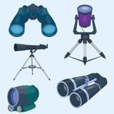 Professional camera lens binoculars glass look-see spyglass optics device camera digital focus optical equipment vector Stock Image