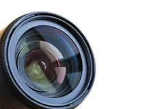 Professional camera lense isolated on white background