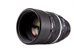 Professional camera lense. Nikkon 105 mm DC professional camera lense isolated on white background Royalty Free Stock Image