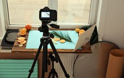 Professional camera with picture of cut fruits. And palm leaf on display in studio. Food photography stock photography