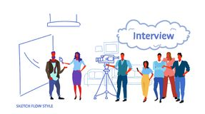 Professional camera recording female presenter interviewing in television studio with crew reporter taking interview. With man mass media announcement concept vector illustration