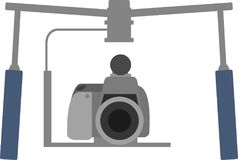 Professional camera with stabilizer device stock illustration