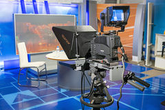 Professional camera with teleprompter in the Studio before live. Stock Images
