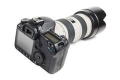 Professional camera whith lens Royalty Free Stock Photos