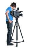 Professional cameraman. Professional cameraman, isolated on white background Stock Photo