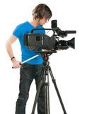 Professional cameraman on white background Royalty Free Stock Photo